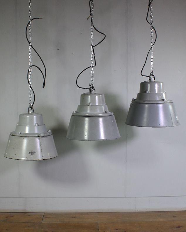 Industrial Grey Lights with Glass Shades