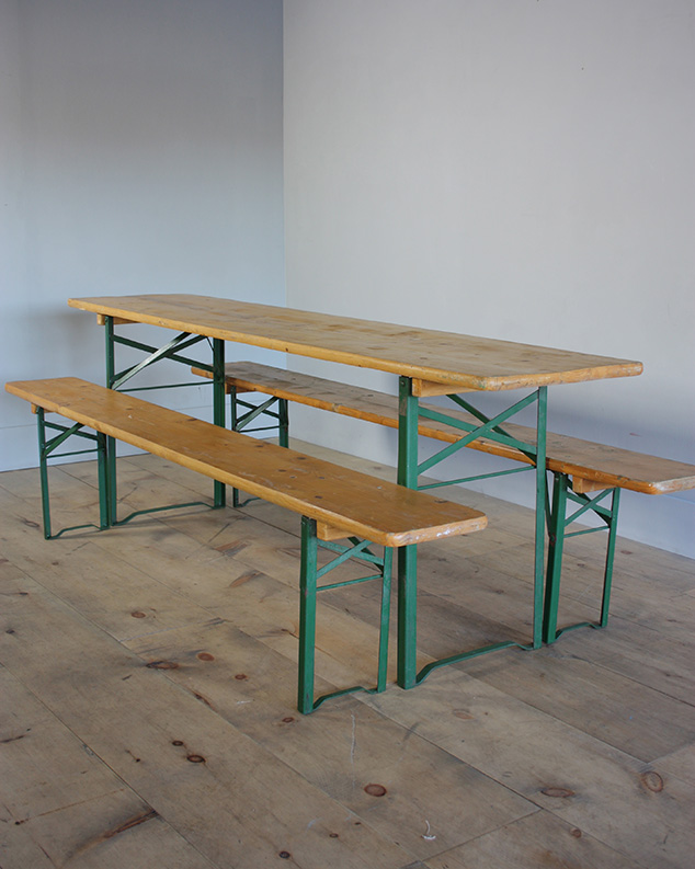 german yellow tables and benches