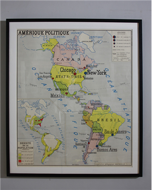 america & South America French Map x