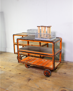 Orange Metal framed Factory Trolley