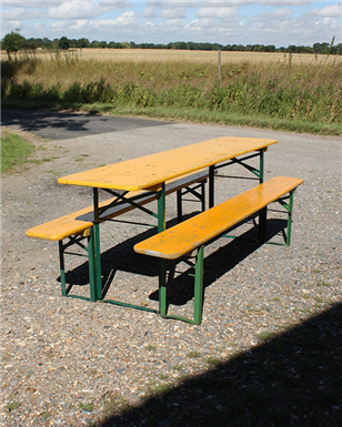 German Folding Tables and Benches yellow and green legs 220cm
