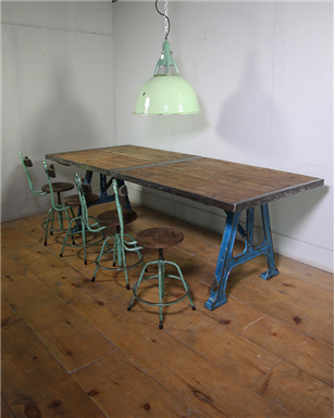 Industrial Blue Metal Legged Table
