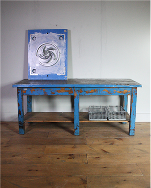 metal Topped Blue Table