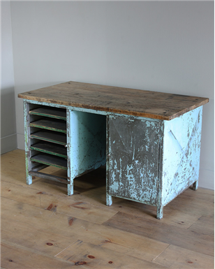 blue metal workbench