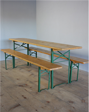 yellow beer table and bench sets