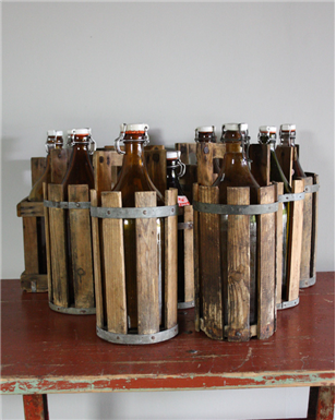 Danish Beer Bottles in Wooden Crates.