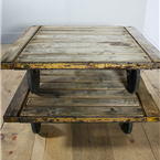 square trolley table yellow