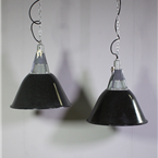 Glass Topped, Black Pendant Lights