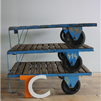 Blue Pallet Trolley Tables