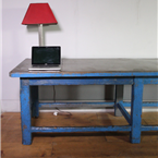 Large Industrial Blue Table