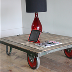 Red Wheeled Pallet Tables