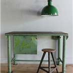 green metal workbench